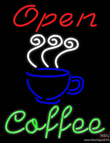 Red Open Coffee Green Real Neon Glass Tube Neon Sign
