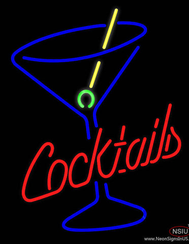 Cocktails and Martini Glass Real Neon Glass Tube Neon Sign