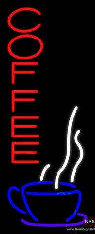 Red Vertical Coffee Real Neon Glass Tube Neon Sign
