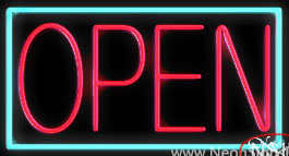 Aqua Border With Pink Open Real Neon Glass Tube Neon Sign
