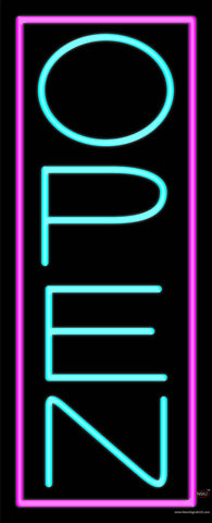 Aqua Open With Pink Border Vertical Real Neon Glass Tube Neon Sign
