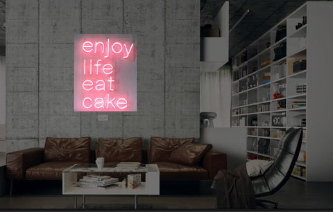 New Enjoy Life Eat Cake Neon Art Sign Handmade Visual Artwork Wall Decor Light