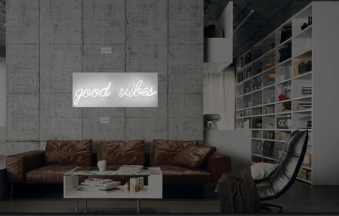 New Good Vibes Neon Art Sign Handmade Visual Artwork Wall Decor Light
