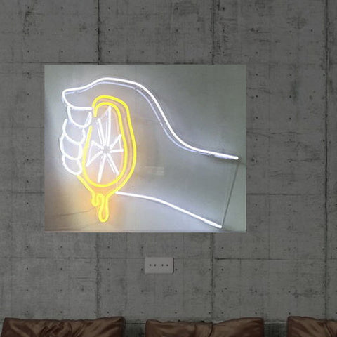 New Lemon Juice Neon Art Sign Handmade Visual Artwork Wall Decor Light
