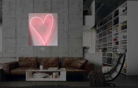 New Pink Love Heart Neon Art Sign Handmade Visual Artwork Wall Decor Light