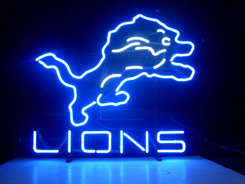 Nfl Detroit Lions Real Neon Light Beer Sign