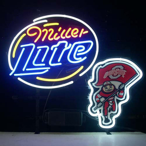 Professional  Ohio State Buckeyes Brutus Miller Lite Beer Real Neon Bar Pub Sign
