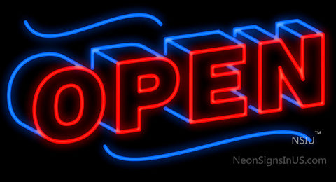 Open Block Neon Sign