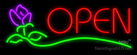 Open Rose Block Neon Sign