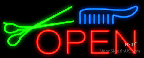 Open Scissors and Comb Neon Sign