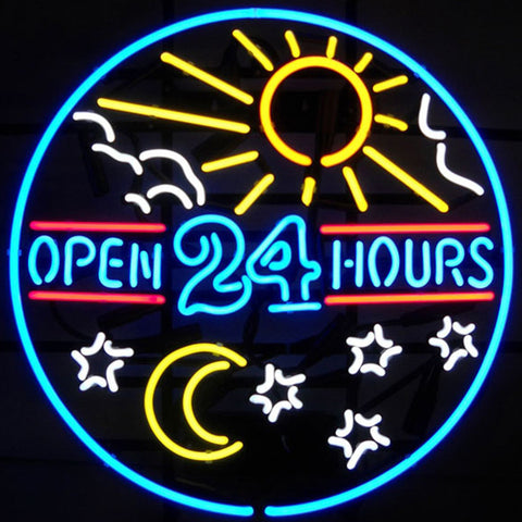 Open 24 Hours Sun and Moon Neon Sign  Vintage Style Diner Signs
