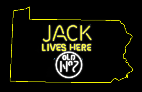 Jack Daniels Jack Lives Here Pennsylvania Real Neon Glass Tube Neon Sign