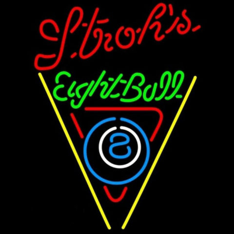 Strohs Eightball Billiards Pool Beer Sign Handmade Art Neon Sign