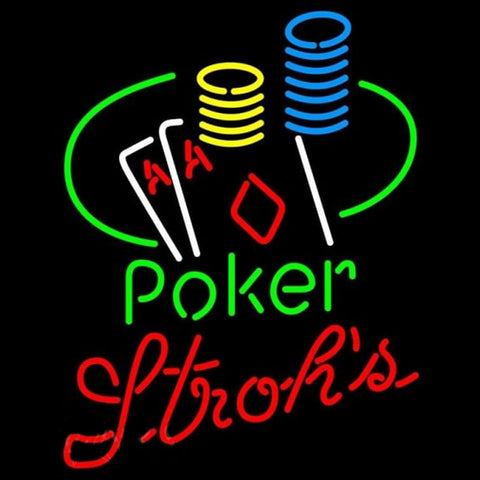 Strohs Poker Ace Coin Table Beer Sign Handmade Art Neon Sign