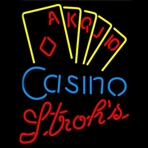 Strohs Poker Casino Ace Series Beer Sign Handmade Art Neon Sign