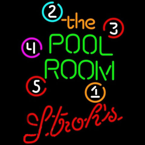 Strohs Pool Room Billiards Beer Sign Handmade Art Neon Sign