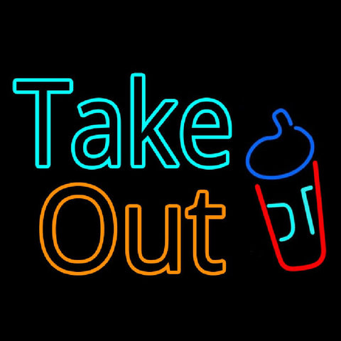 Take Out With Wine Glass Handmade Art Neon Sign