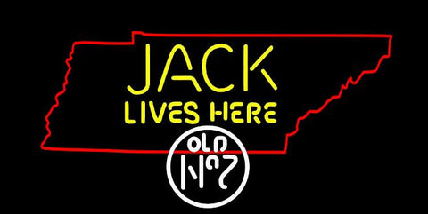 Tennessee Jack Daniels Jack Lives Here Texas Real Neon Glass Tube Neon Sign