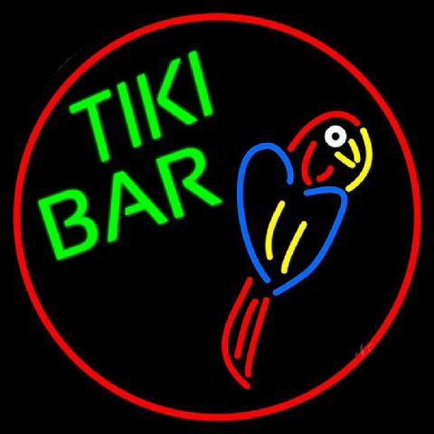 Tiki Bar Parrot Oval With Red Border Handmade Art Neon Sign