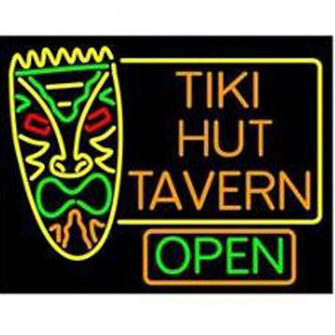 Tiki Hut Tavern Bar Handmade Art Neon Sign