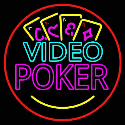 Video Poker With Cards 1 Handmade Art Neon Sign