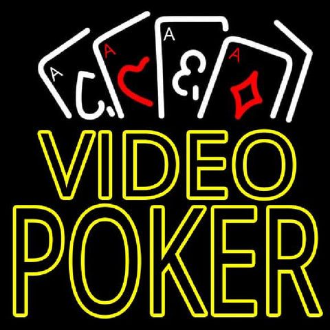 Video Poker With Cards Handmade Art Neon Sign