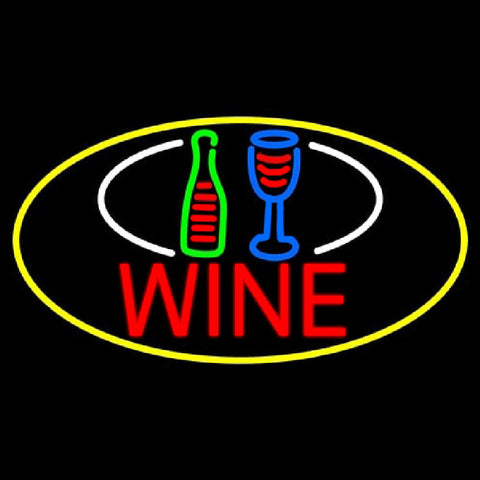 Wine Bottle Glass Oval With Yellow Border Handmade Art Neon Sign