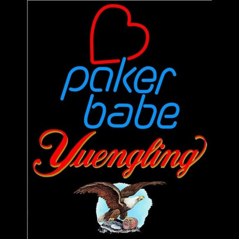 Yuengling Poker Girl Heart Babe Beer Sign Handmade Art Neon Sign