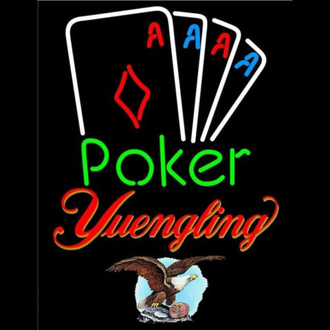 Yuengling Poker Tournament Beer Sign Handmade Art Neon Sign