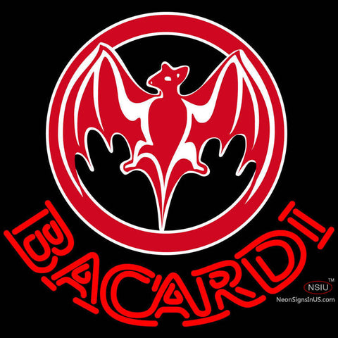 Bacardi Bat Red Logo Neon Rum Sign x