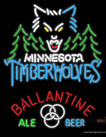 Ballantine Minnesota Timber Wolves NBA Neon Beer Sign
