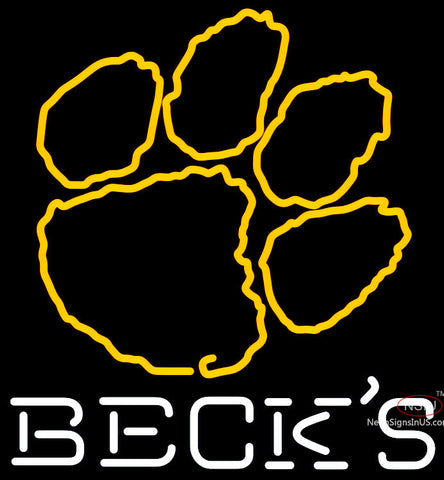Becks Clemson UNIVERSITY Tiger Print Neon Sign