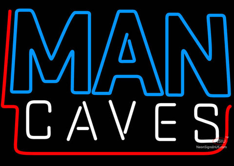 Blue And White Red Border Man Cave Neon Sign