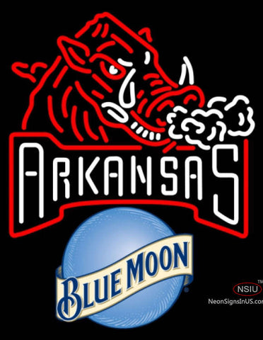 Blue Moon Arkansas Razorbacks UNIVERSITY Neon Sign