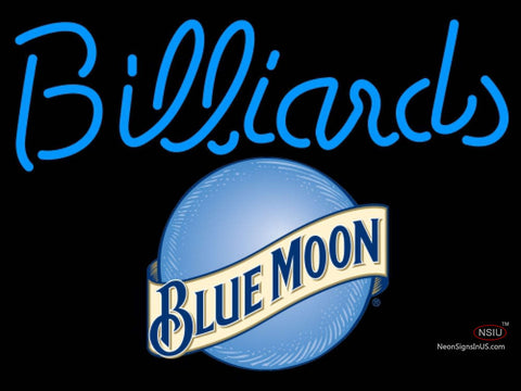 Blue Moon Billiards Text Pool Neon Beer Sign  7
