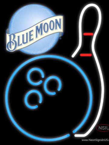 Blue Moon Bowling Neon Blue White Neon Sign