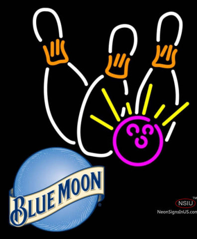Blue Moon Bowling Neon White Pink Neon Sign