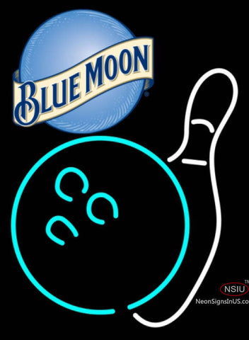 Blue Moon Bowling Neon White Sign