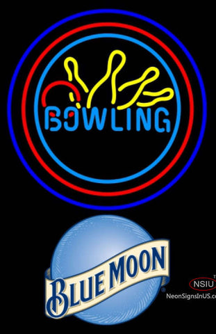 Blue Moon Bowling Neon Yellow Blue Sign