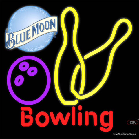 Blue Moon Bowling Neon Yellow Signs   x