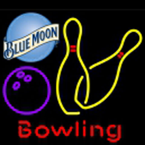 blue moon bowling neon yellow signs