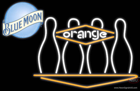 Blue Moon Bowling Orange Neon Sign  7