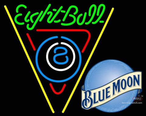 Blue Moon Eight Ball Billiards Pool Neon Beer Sign