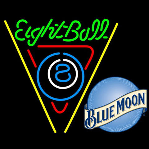 blue moon eightball billiards pool neon beer