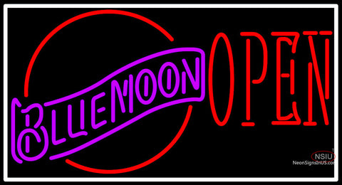 Blue Moon Red Open Neon Beer Sign