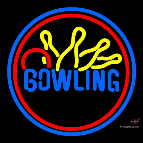 Bowling Yellow Blue Neon Sign