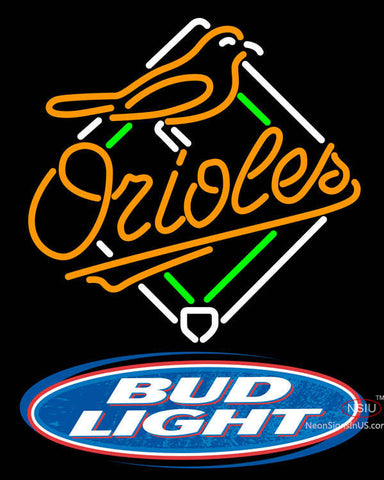 Bud Light Logo Baltimore Orioles MLB Neon Sign