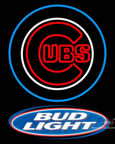 Bud Light Logo Chicago Cubs MLB Neon Sign