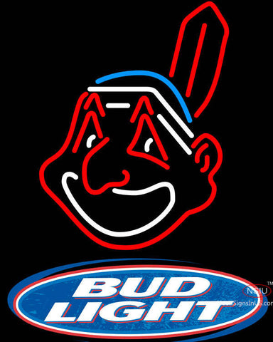 Bud Light Logo Cleveland Indians MLB Neon Sign