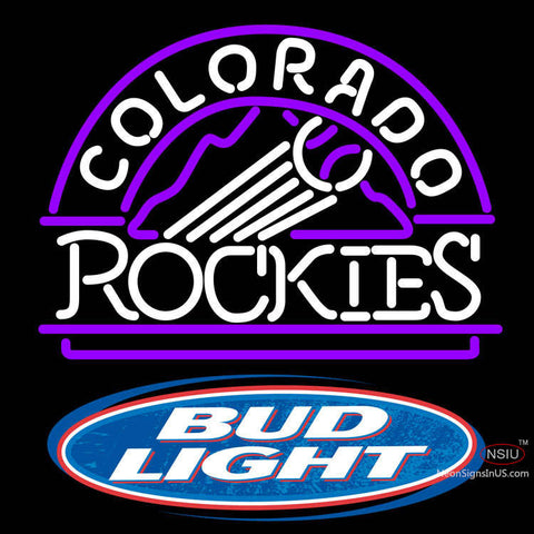 Bud Light Logo Colorado Rockies MLB Neon Sign